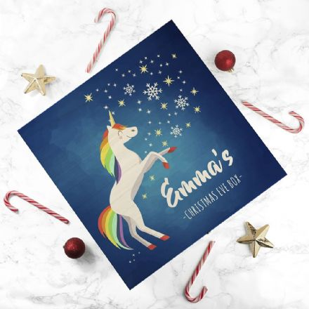 Personalised Festive Unicorn Christmas Eve Box - Large